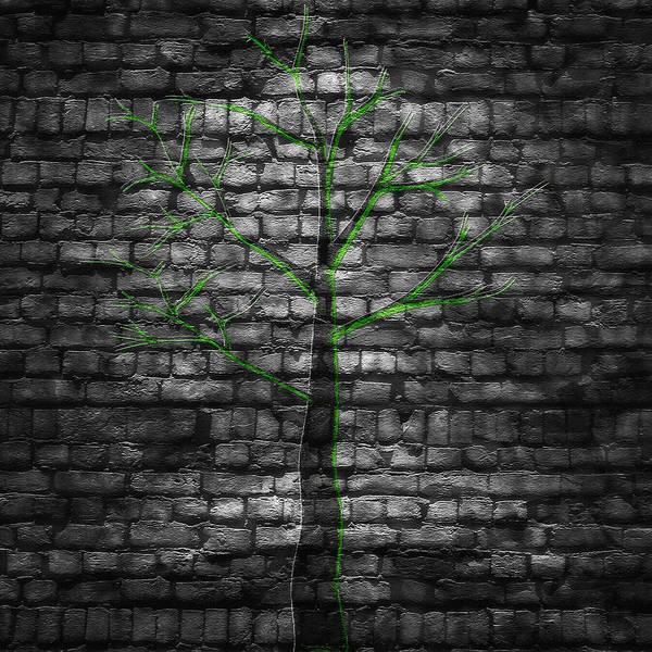 Wall Art - Digital Art - Alley Tree - Digital Graffiti by Steve Ohlsen