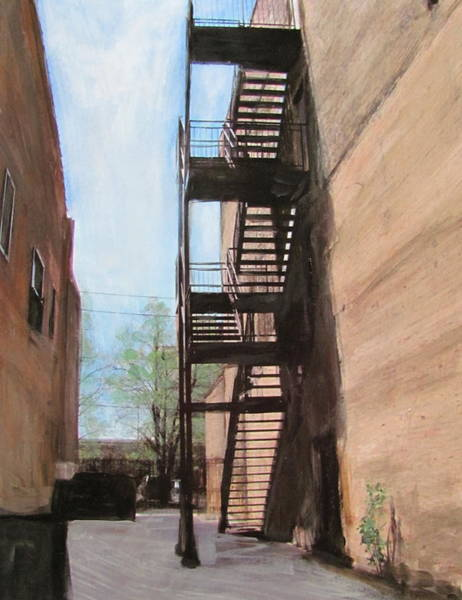 Mixed Media - Alley W Fire Escape by Anita Burgermeister