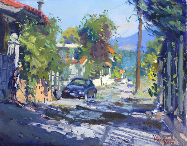 House Mountain Wall Art - Painting - Alleyway By Lida's House Greece by Ylli Haruni