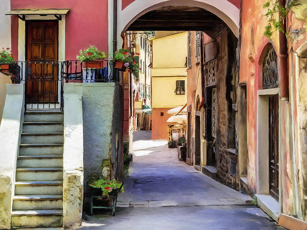Lake Como Painting - Alleyway In Monterosso Al Mare, Cinque Terre by Dominic Piperata