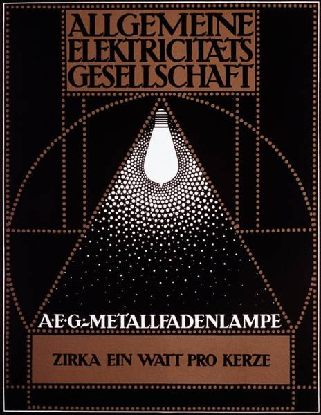 Electric Mixed Media - Allgemeine Elektricitats Gesellschaft - Vintage German Advertising Poster by Studio Grafiikka