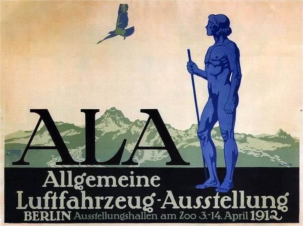 Wall Art - Mixed Media - Allgemeine Luftfahrzeug-ausstellung - Berlin - Retro Travel Poster - Vintage Poster by Studio Grafiikka