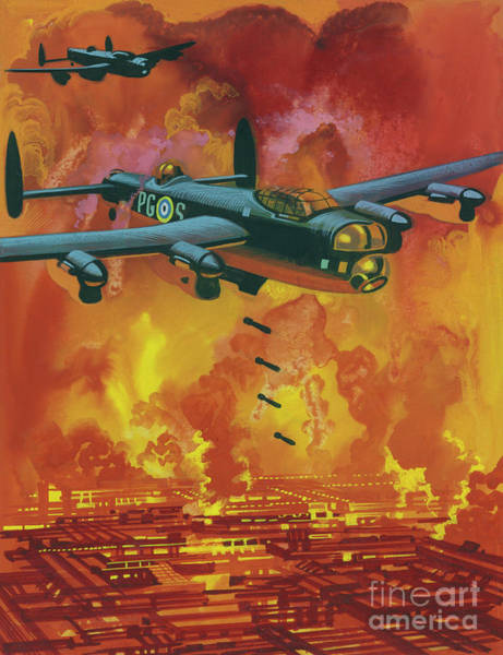 Inferno Painting - Allied Bombers Attacking The Research Station In Which The Germans Were Working On Poisonous Gas by Ron Embleton