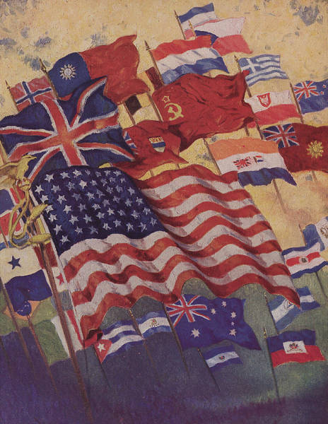 Flying The Flag Wall Art - Painting - Allied Flags - World War II  by American School
