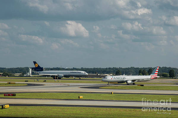 Photograph - Allies In Passing Lufthansa Cargo American Airlines Atlanta Airport Art by Reid Callaway