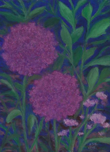 Pastel - Allium And Geranium by Anne Katzeff