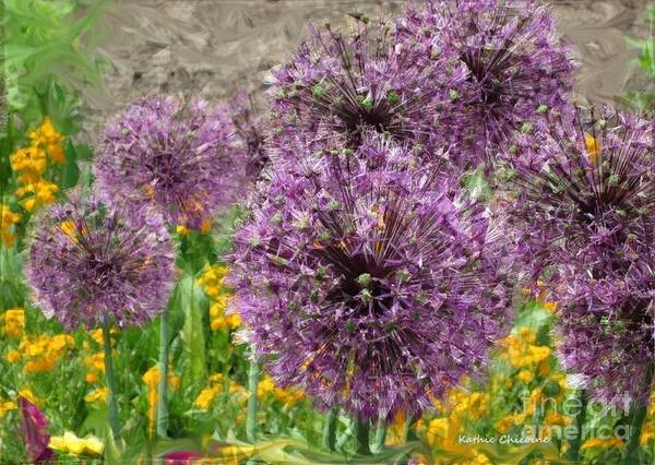 Digital Art - Allium In The Meadow by Kathie Chicoine