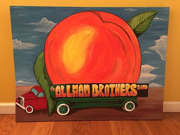 Brothers Painting - Allman Brothers Eat A Peach by Wes Beaver