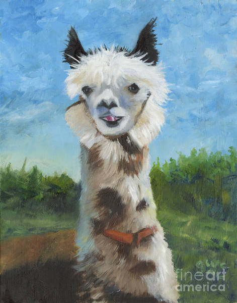 Wall Art - Painting - Alma. The Alpaca by Gloria Condon
