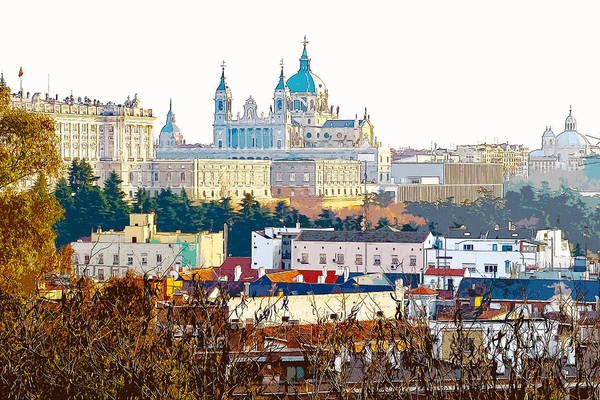 Digital Art - Almudena Cathedral And The Royal Palace Of Madrid Spain by Anthony Murphy
