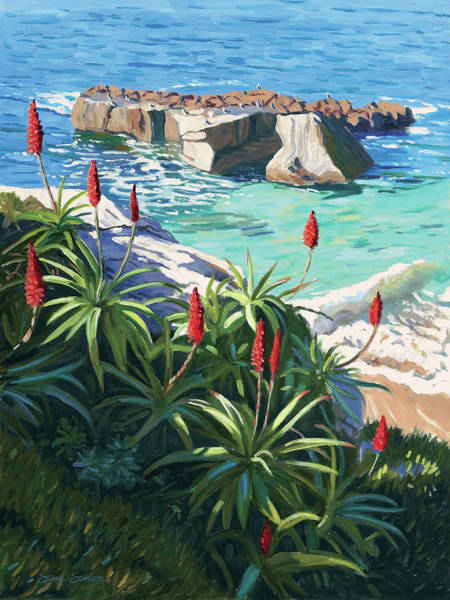 Wall Art - Painting - Aloes Peeking From Shadows by Steve Simon