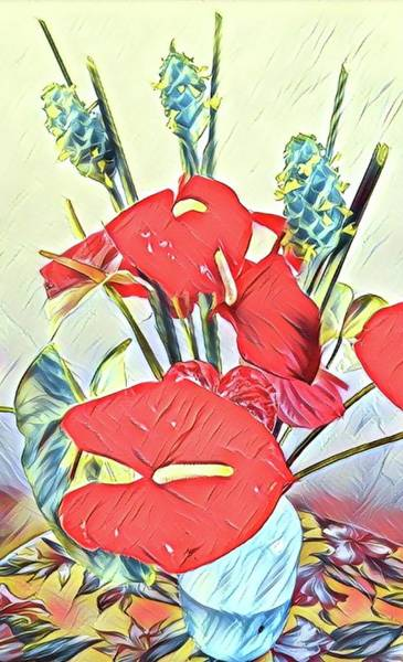 Aloha Bouquet Of The Day - Anthuriums And Green Ginger In Blue Art Print
