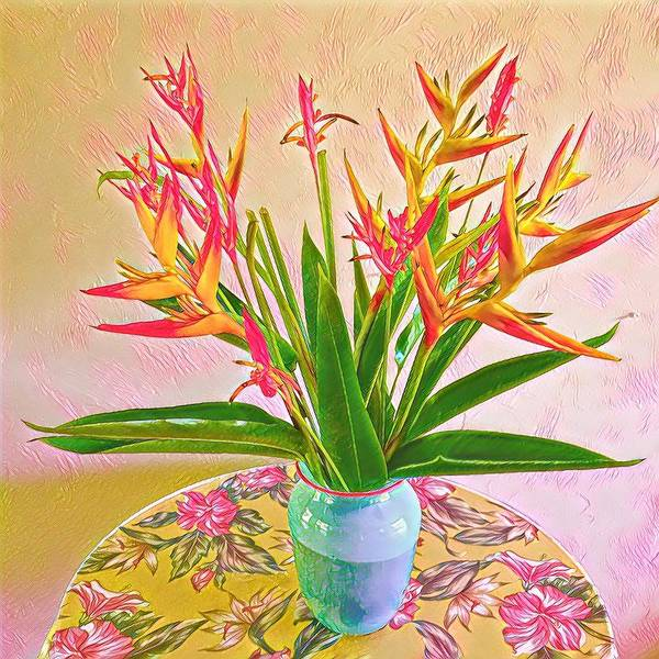 Aloha Bouquet Of The Day Halyconia And Birds In Pink Art Print