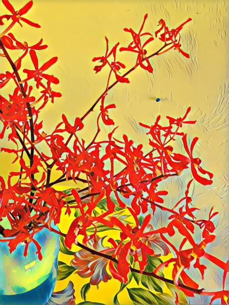 Aloha Bouquet Of The Day -- Red Orchids In Blue Vse Art Print