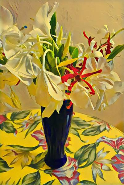 Aloha Bouquet Of The Day - White Gingert With Red Orchids - A New Hue Art Print