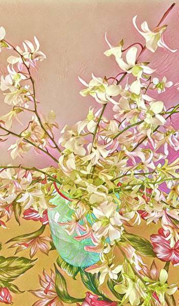 Aloha Bouquet Of The Day - White Orchids In Pink Art Print