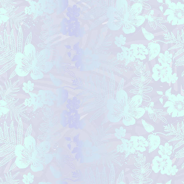 Digital Art - Aloha Damask Gray Aqua by Karen Dyson