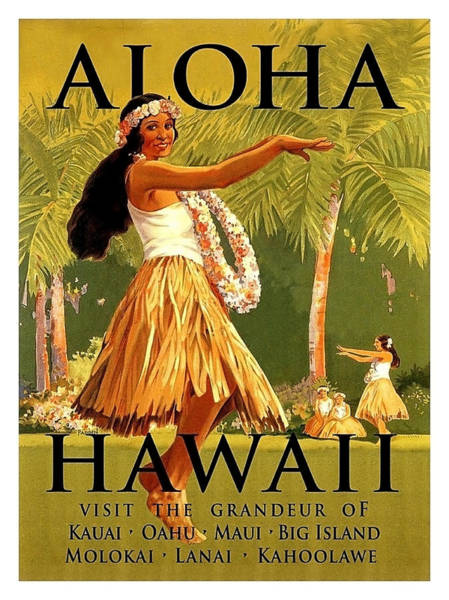 Hula Wall Art - Painting - Aloha Hawaii, Hula Girl Dance by Long Shot