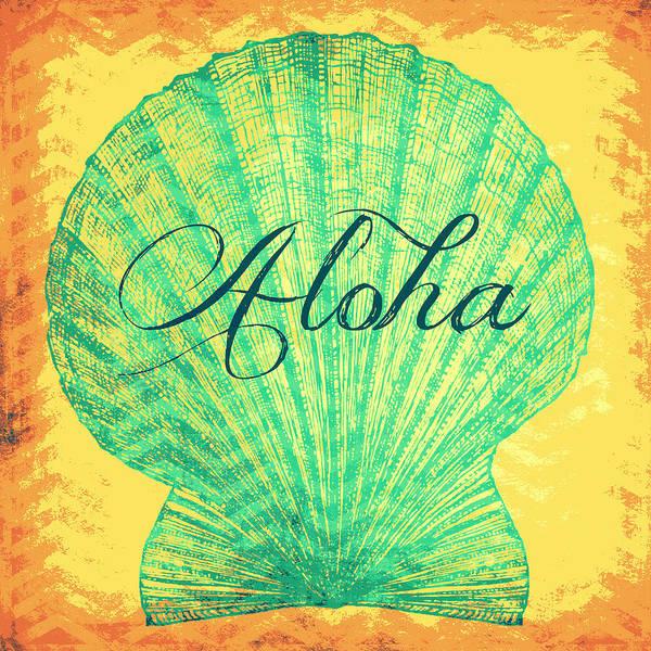 Tropical Digital Art - Aloha Shell by Brandi Fitzgerald