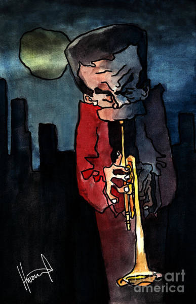 Trumpet Mixed Media - Alone For Miles by Nikola Topalov