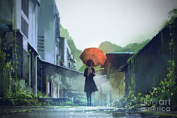 Art Print featuring the painting Alone In The Abandoned Town by Tithi Luadthong