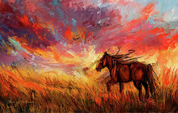 Painting - Alone In The Range - Horse At Sunset by Lourry Legarde