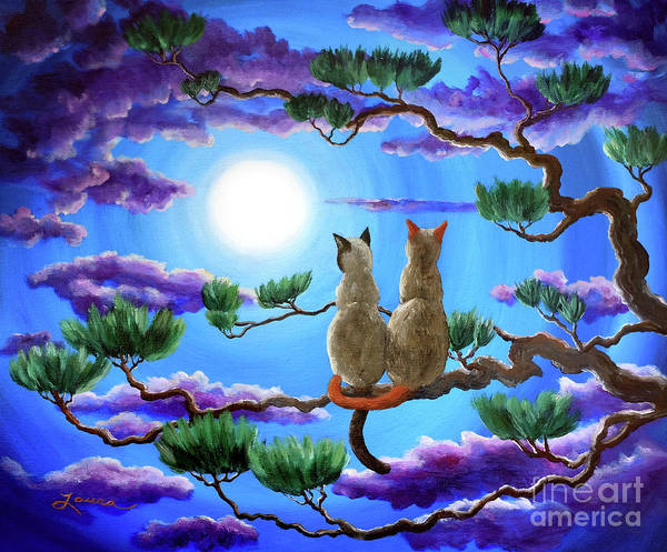 Full Moon Painting - Alone In The Treetops by Laura Iverson