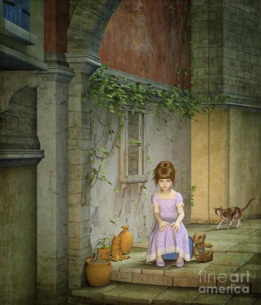 Digital Art - Alone In Town by Jutta Maria Pusl