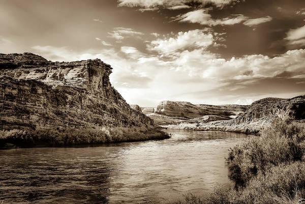 Along A River In Utah - Sepia Art Print