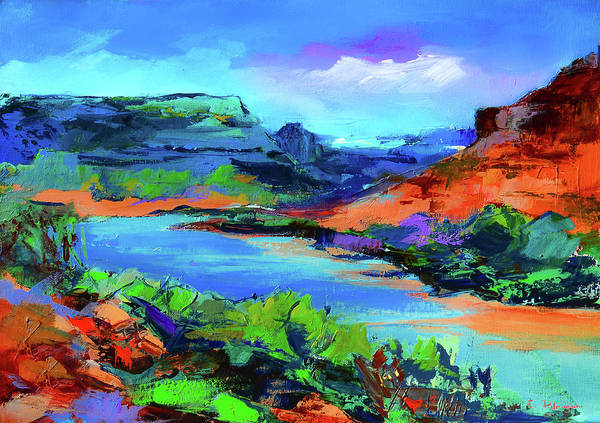 Zion Painting - Along Colorado River - Utah by Elise Palmigiani