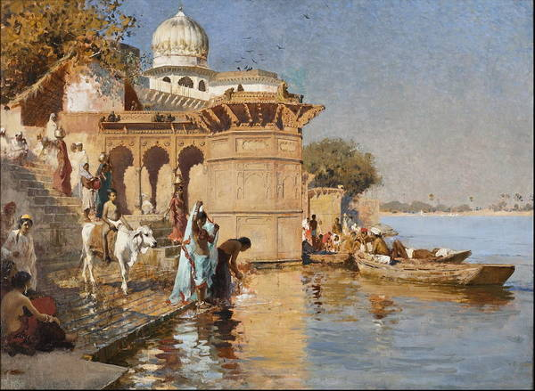 Pilgrimage Painting - Along The Ghats, Mathura Circa 1880 by Edwin Lord Weeks