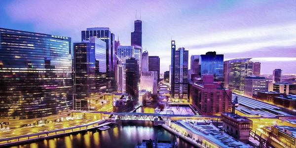 Chicago River Digital Art - Along The River  by Ronald Bolokofsky