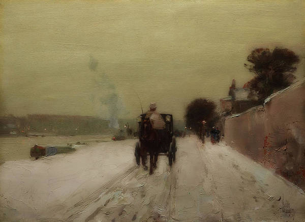 Wall Art - Painting - Along The Seine, Winter by Childe Hassam