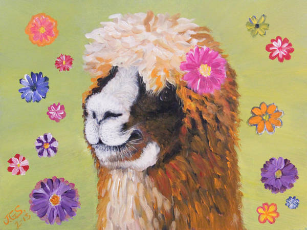 Alpaca Painting - Alpaca Hippie by Janet Greer Sammons
