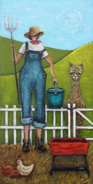 Alpaca Painting - Alpaca Lunch by Linda Carmel