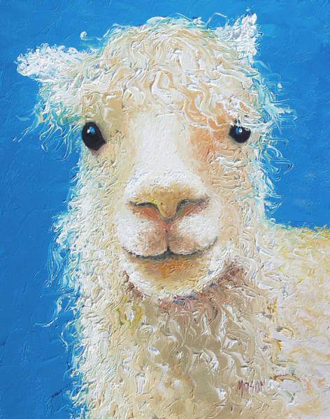 Alpaca Painting - Alpaca On Blue Background by Jan Matson