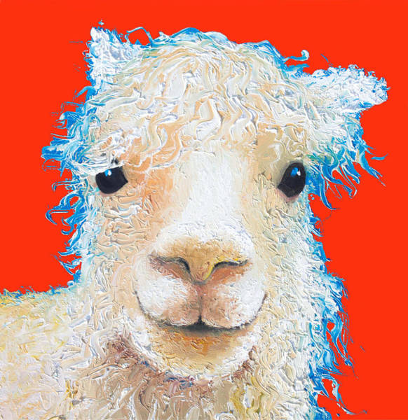 Alpaca Painting - Alpaca Painting On Red  by Jan Matson