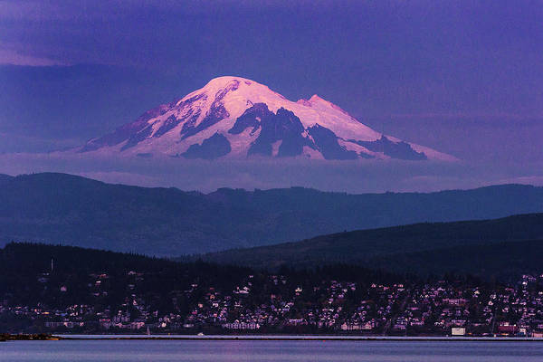 Boundary County Photograph - Alpenglow On Mount Baker Over Bellingham, Wash. by Paul Conrad