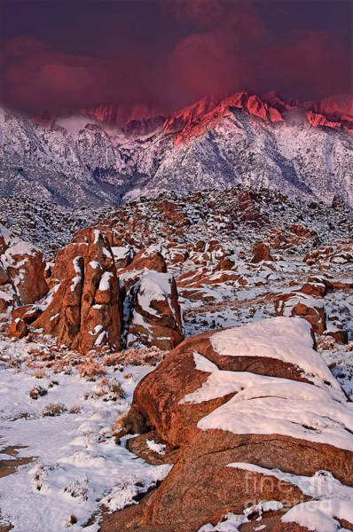 Photograph - Alpenglow Winter Morning Alabama Hills Eastern Sierras California by Dave Welling