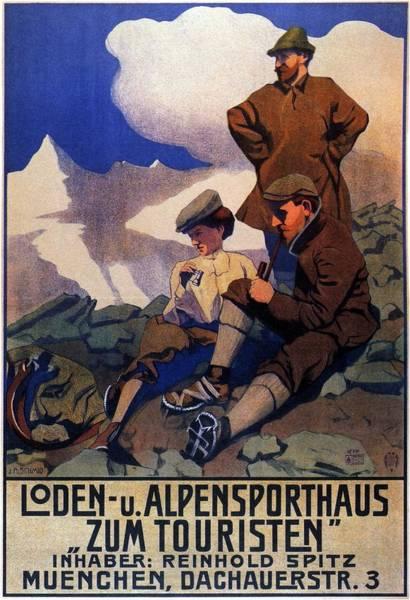 Wall Art - Mixed Media - Alpensporthaus Zum Touristen - Munchen - Vintage German Advertisement by Studio Grafiikka