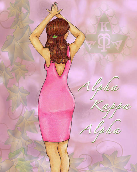 Wall Art - Drawing - Alpha Kappa Alpha - Pink Essence by BFly Designs