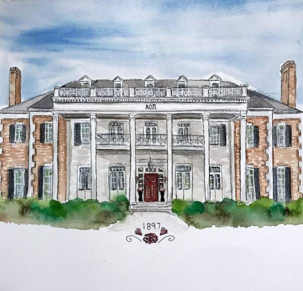 Wall Art - Painting - Alpha Omicron Pi New House by Starr Weems