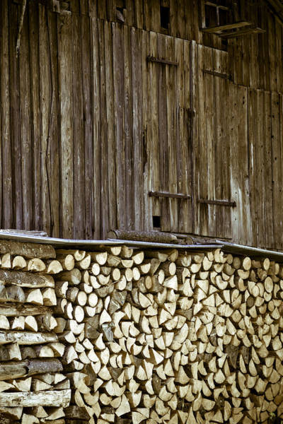 Wall Art - Photograph - Alpine Firewood Storage Barn by Frank Tschakert