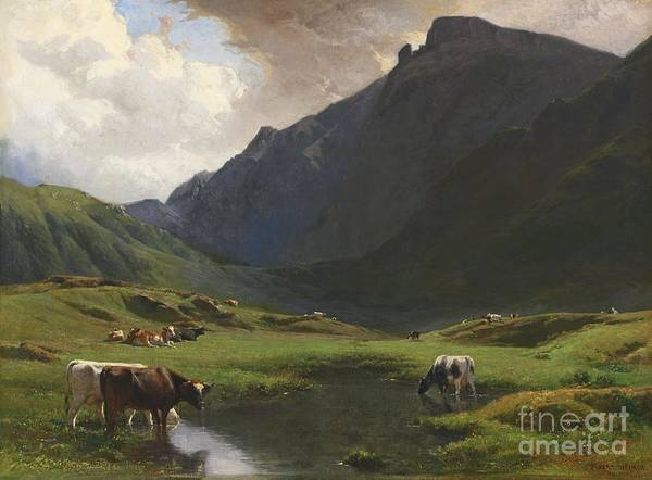 Ch Painting - Alpine Landscape With Cows And Goats by MotionAge Designs