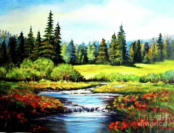 Wall Art - Painting - Alpine Meadow by Hazel Holland