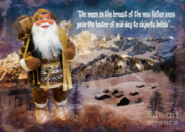 Digital Art - Alpine Santa Card 2015 by Kathryn Strick