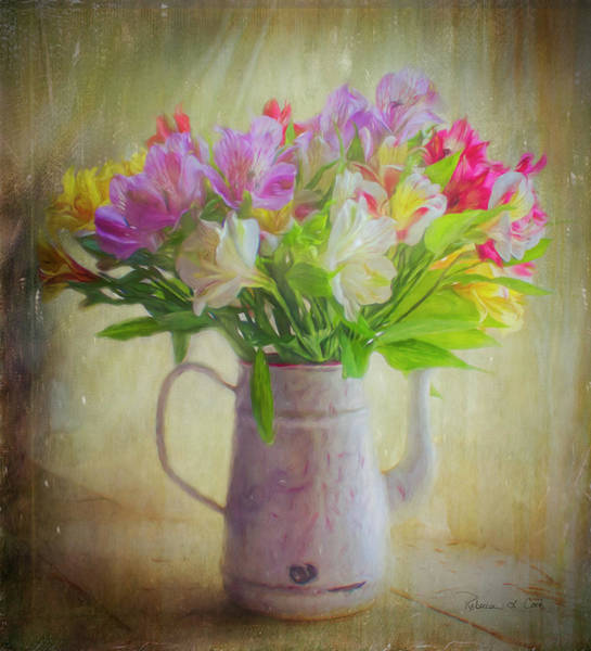 Photograph - Alstroemeria In Enamel Coffee Pot by Bellesouth Studio