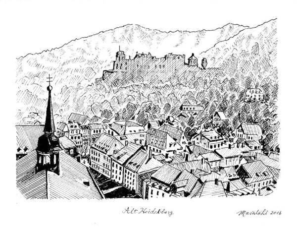 Landscape Painting - Alt Heidelberg by Masatoki Miyagi
