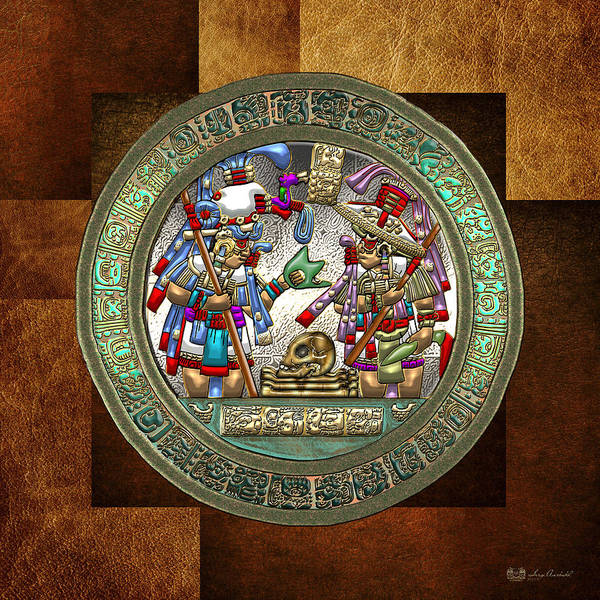 Digital Art - Altar 5 From Tikal - Mayan Nobles Performing A Ritual - On Brown Leather  by Serge Averbukh