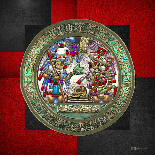 Digital Art - Altar 5 From Tikal - Mayan Nobles Performing Reburial Ritual - On Black And Red Leather by Serge Averbukh